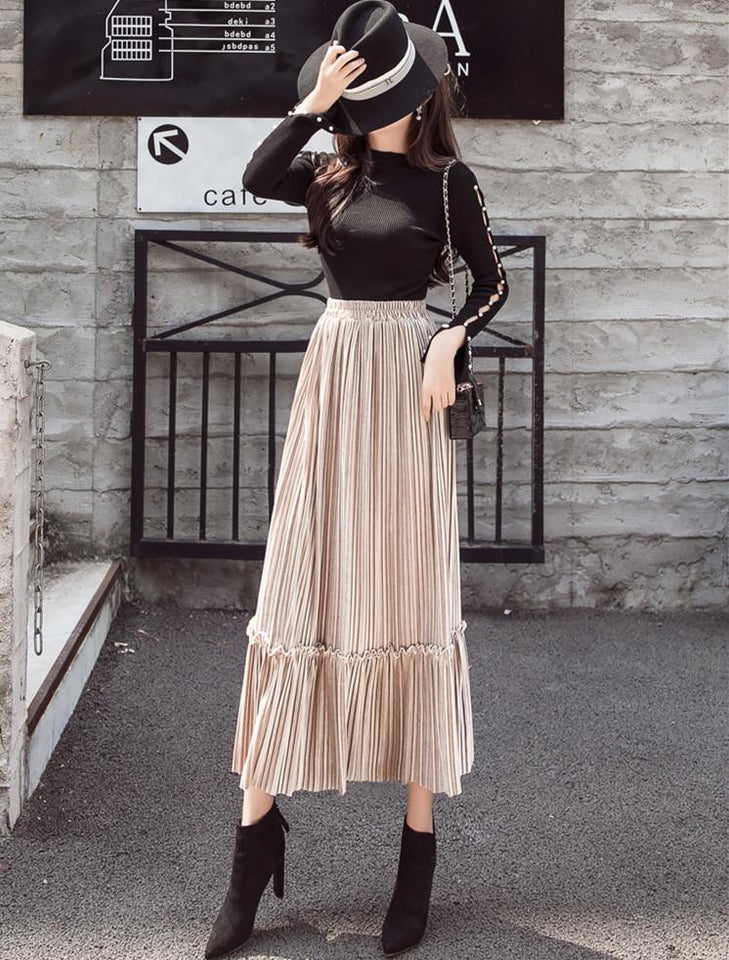 Autumn And Winter Fashion High Waist Pleated Gold Velvet Half-Length Skirt Army Green l
