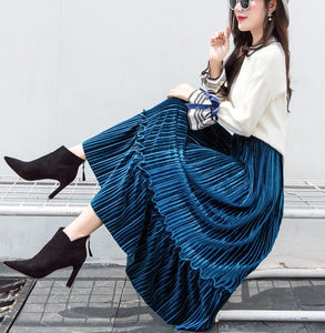 Autumn And Winter Fashion High Waist Pleated Gold Velvet Half-Length Skirt Apricot l