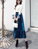 Autumn And Winter Fashion High Waist Pleated Gold Velvet Half-Length Skirt Apricot m