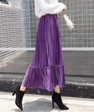 Autumn And Winter Fashion High Waist Pleated Gold Velvet Half-Length Skirt Red l
