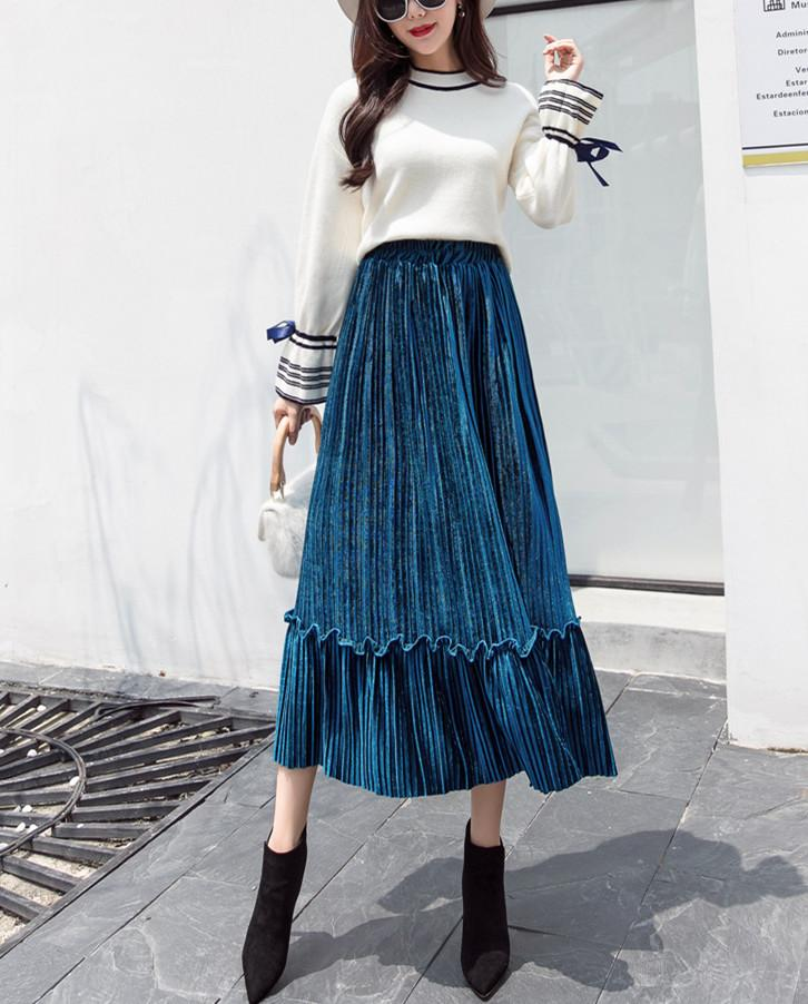Autumn And Winter Fashion High Waist Pleated Gold Velvet Half-Length Skirt Apricot s