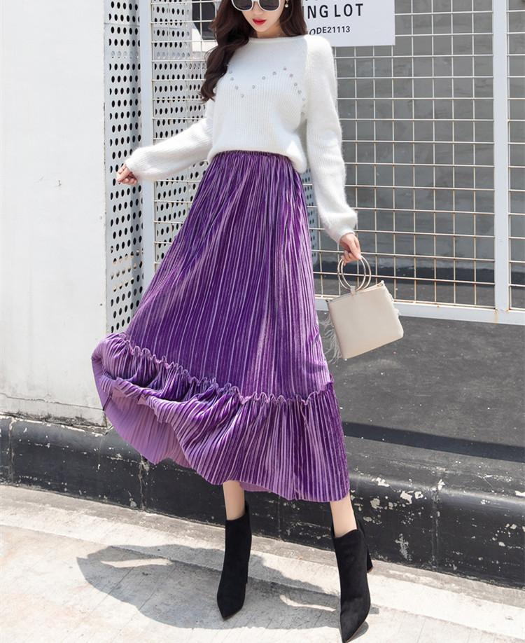 Autumn And Winter Fashion High Waist Pleated Gold Velvet Half-Length Skirt Red s