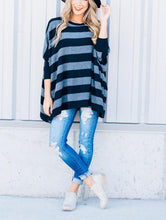 Striped Loose Bat Long-Sleeved Round Collar Medium Long T-Shirt