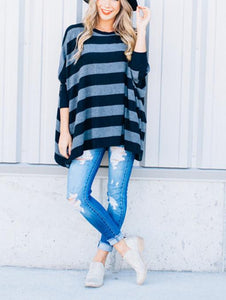 Striped Loose Bat Long-Sleeved Round Collar Medium Long T-Shirt Black m