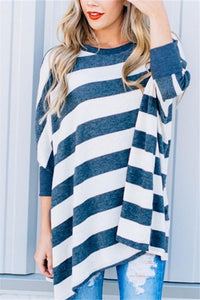 Striped Loose Bat Long-Sleeved Round Collar Medium Long T-Shirt White s
