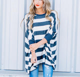 Striped Loose Bat Long-Sleeved Round Collar Medium Long T-Shirt Black l