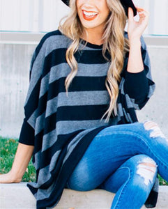 Striped Loose Bat Long-Sleeved Round Collar Medium Long T-Shirt Black s