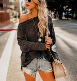 Shoulders Casual Loose Shoulder Thin Sweater Black l