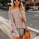 Shoulders Casual Loose Shoulder Thin Sweater Apricot xl
