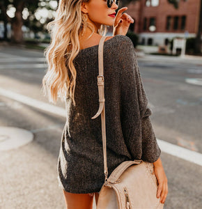 Shoulders Casual Loose Shoulder Thin Sweater Black xl