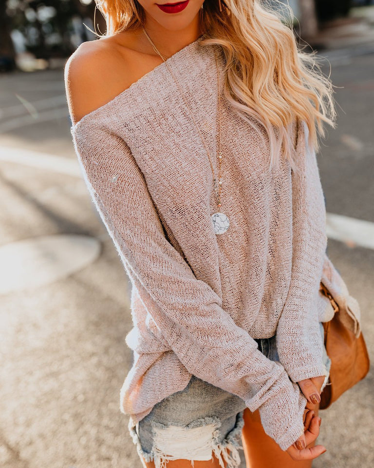 Shoulders Casual Loose Shoulder Thin Sweater Apricot m