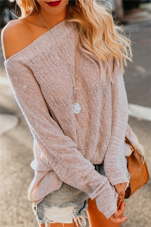 Shoulders Casual Loose Shoulder Thin Sweater Apricot l