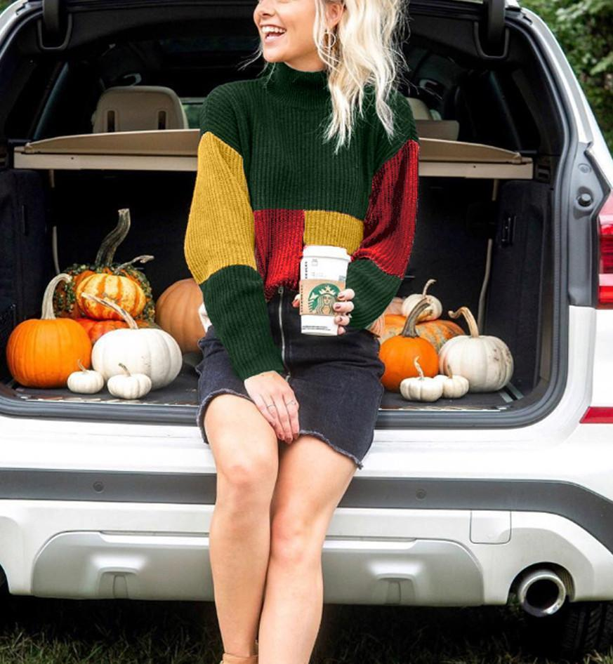 Autumn And Winter Casual Colouring Sweater Green s