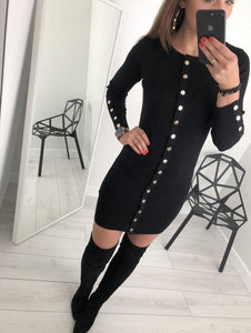 Sexy Trim Pure Color Nail Buckle Wrapped Hip Knitted Dress Red m