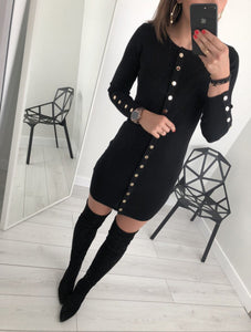Sexy Trim Pure Color Nail Buckle Wrapped Hip Knitted Dress Black m