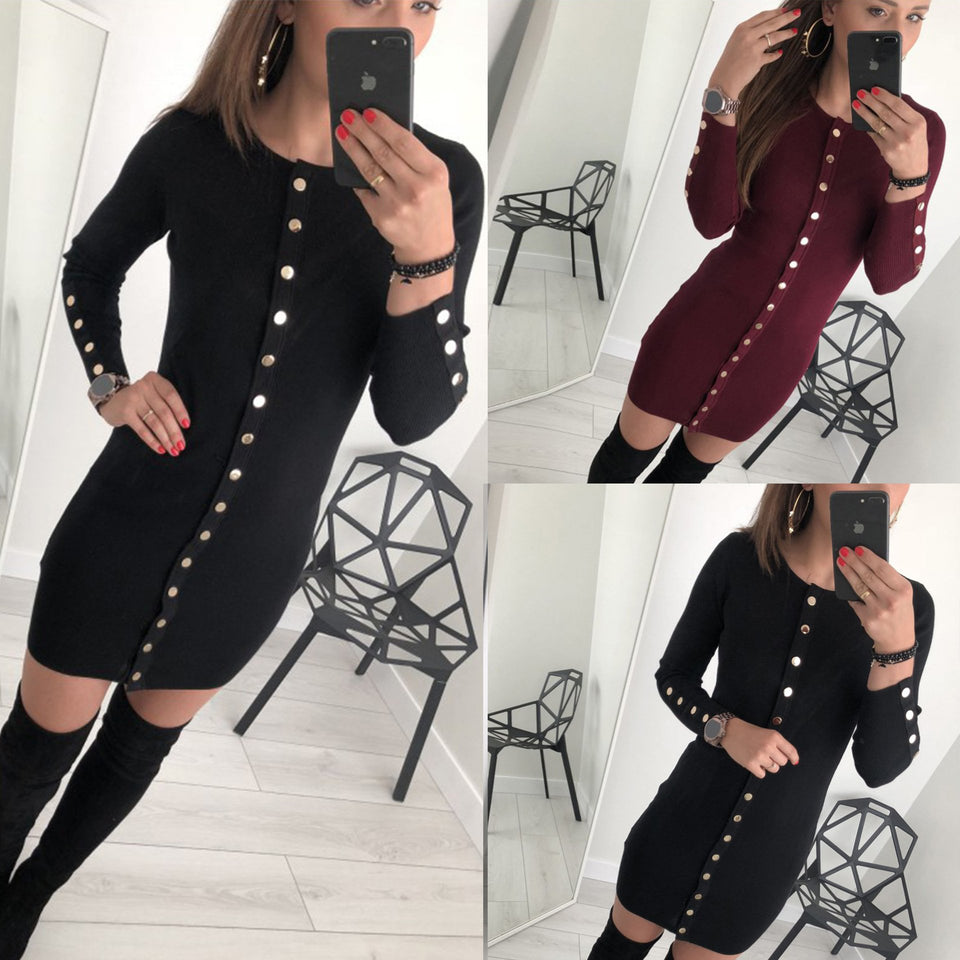 Sexy Trim Pure Color Nail Buckle Wrapped Hip Knitted Dress Red l