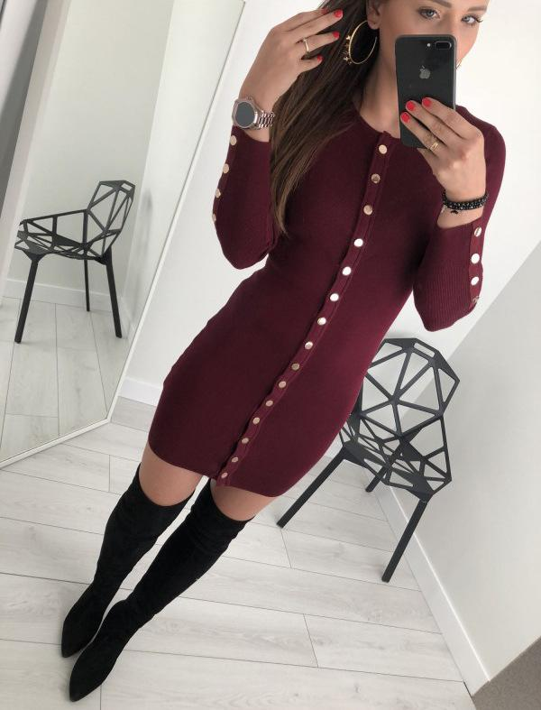 Sexy Trim Pure Color Nail Buckle Wrapped Hip Knitted Dress Red xl