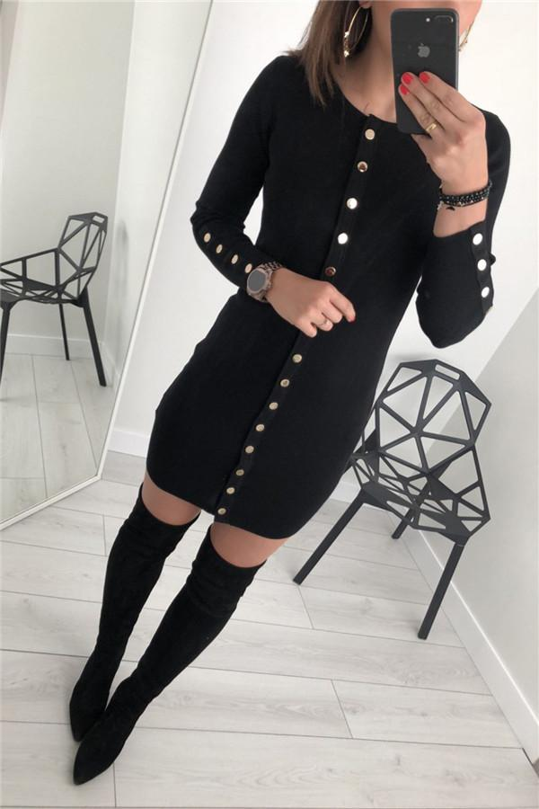 Sexy Trim Pure Color Nail Buckle Wrapped Hip Knitted Dress Black s