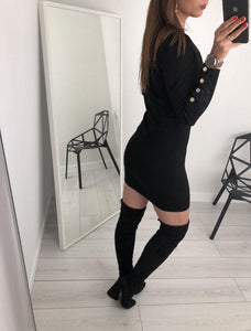 Sexy Trim Pure Color Nail Buckle Wrapped Hip Knitted Dress Black l