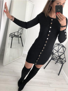 Sexy Trim Pure Color Nail Buckle Wrapped Hip Knitted Dress Black xl