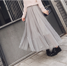 Fashion Beaded Large Swing Skirt