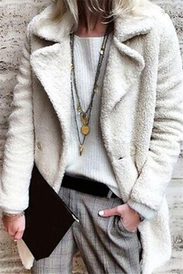 Pure Color Velvety Lapel Warm Coat Style Coat White s