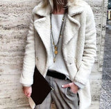 Pure Color Velvety Lapel Warm Coat Style Coat White l