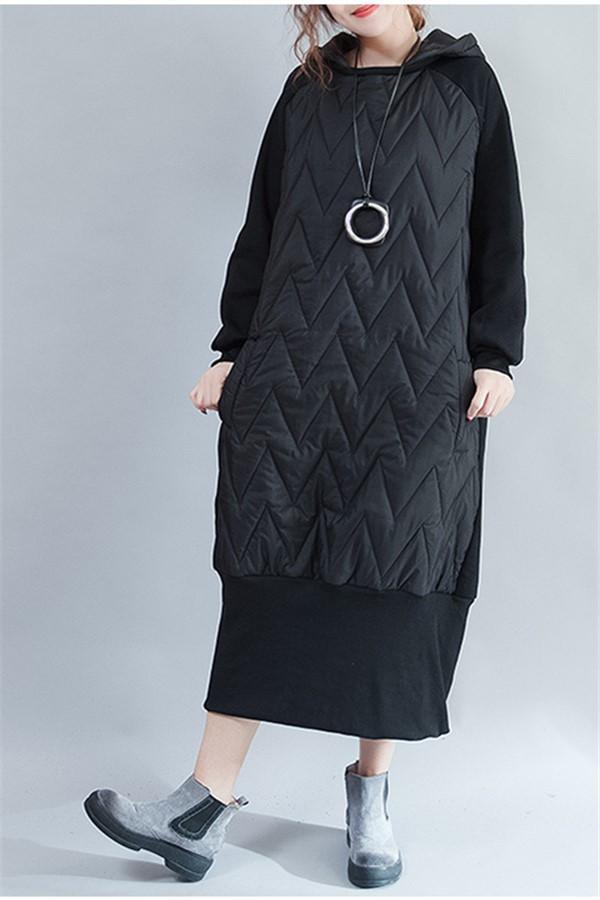 Pure Color Thickened Plaited Cotton Long Size Cap And Padded Cotton Maxi Dress Black one size