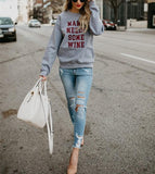 Fashion Trend Round Collar Long Sleeve Letters Leisure Jacket Dark Grey s