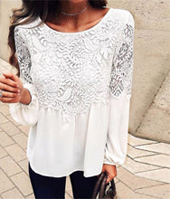 Pure Color Long Sleeved Chiffon Lace T - Shirt