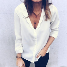 Pure Color Deep V Wave Collar Long Sleeve Shirt