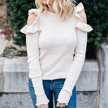 Sexy Off-The-Shoulder Long-Sleeved Blouse With Flounces