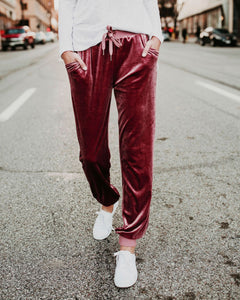 Suede Belt Elastic Waist Simple Casual Pants Claret xl
