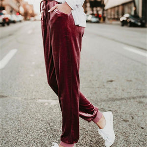 Suede Belt Elastic Waist Simple Casual Pants Claret m