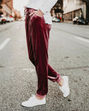 Suede Belt Elastic Waist Simple Casual Pants Claret l