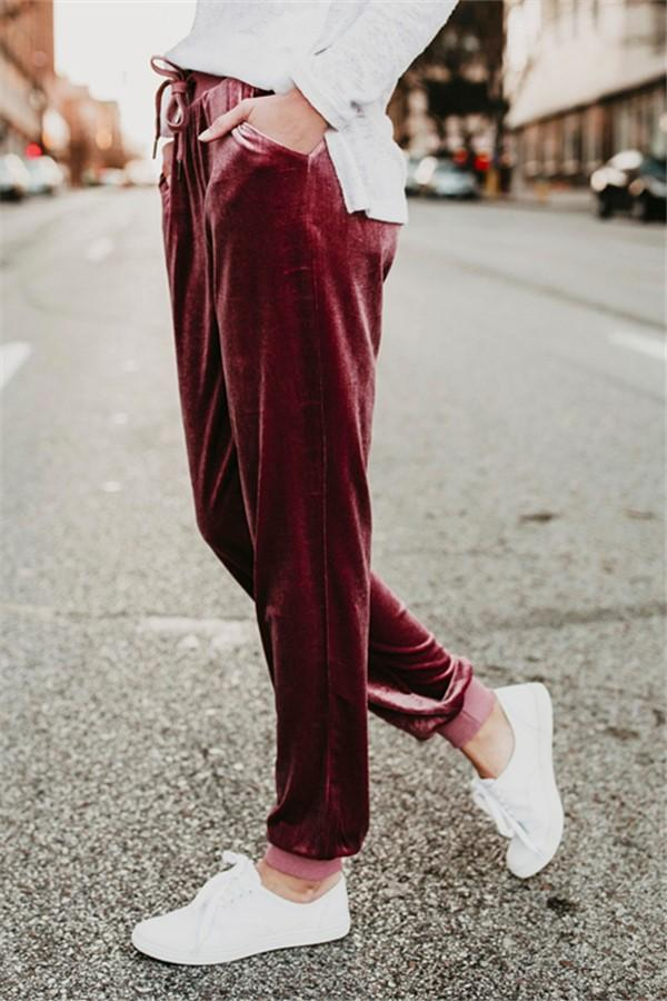 Suede Belt Elastic Waist Simple Casual Pants Claret s