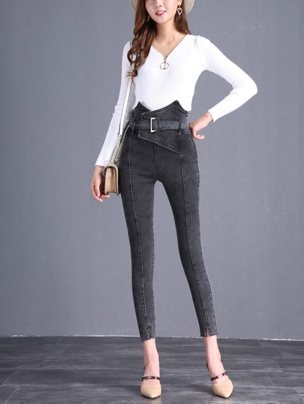 The Flower Bud Shows Thin Jeans Gray l