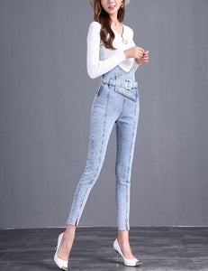The Flower Bud Shows Thin Jeans Light Blue l