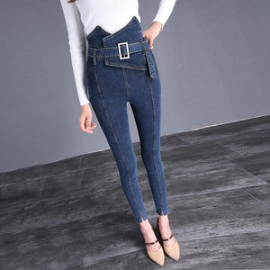 The Flower Bud Shows Thin Jeans Blue m