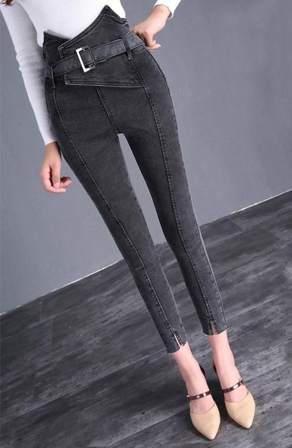 The Flower Bud Shows Thin Jeans Gray m