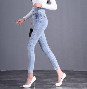 The Flower Bud Shows Thin Jeans Light Blue xl