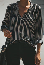 V-Necked Striped Slim Shirt