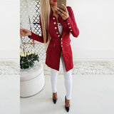 Vintage Button Long Sleeve Plain Blazers Red l