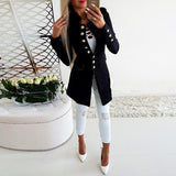 Vintage Button Long Sleeve Plain Blazers Black s