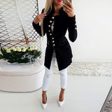 Vintage Button Long Sleeve Plain Blazers Black l