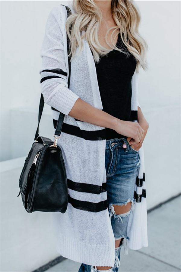 A Light-Colored Cardigan Sweater White Black s