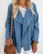 Fashion Pure Color Tie Waist Wash Denim Jacket
