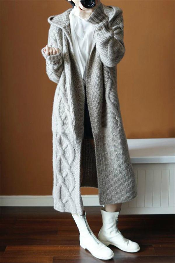Autumn Winter Hat   Thick Knitted Long Coat Gray one size