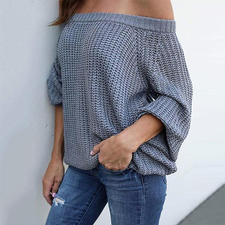 Pure Color Sexy Off The Shoulder Lantern Sleeve Sweater Gray l