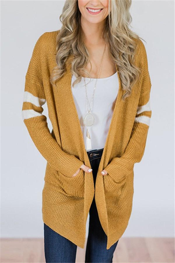 Pinstripe Sleeves In Color Matching Long Knitted Cardigan Sweater Yellow s